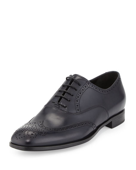 Giorgio Armani Leather Wing-Tip Oxford, Black