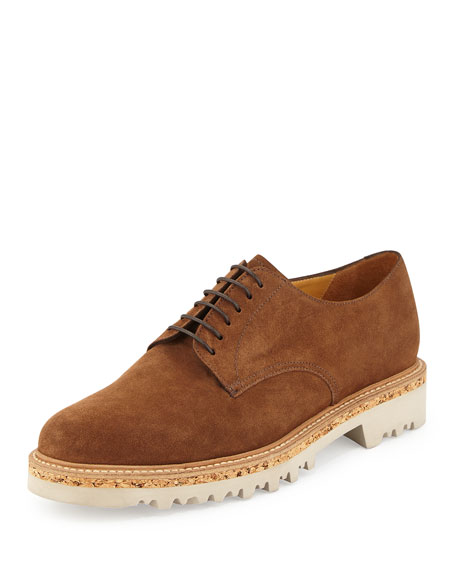 Giorgio Armani Suede Lace-Up Derby Shoe, Tan