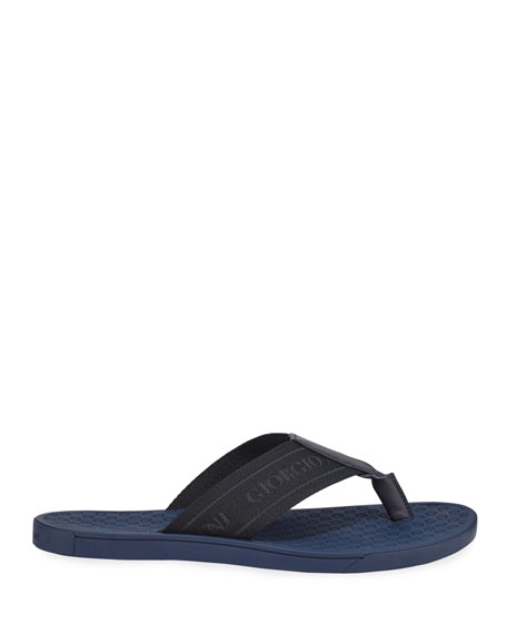Men's Nylon-Web Thong Sandals, Blue