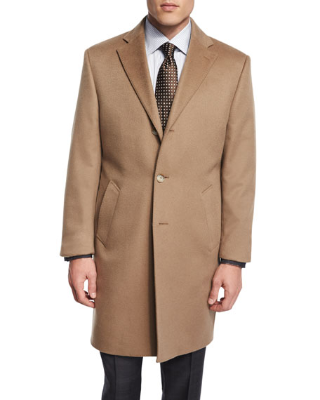 Cashmere Button-Down Long Coat, Camel