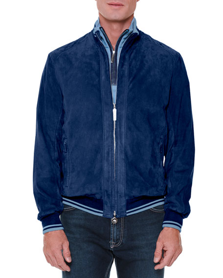 Stefano Ricci Perforated Suede Zip-Up Jacket & Cashmere