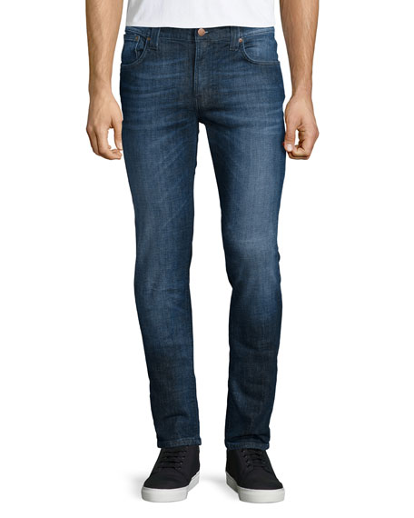 Nudie Thin Finn Washed Denim Jeans, Dark Blue