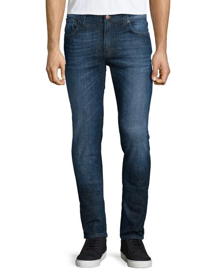 Nudie Thin Finn Washed Denim Jeans, Dark Blue