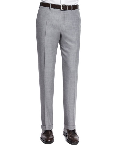Canali Sienna Contemporary-Fit Twill Trousers, Light Gray