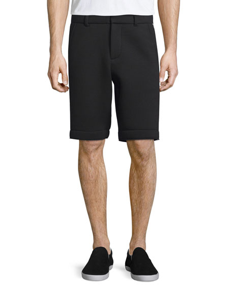 ATM Neoprene Flat-Front Shorts with Track Stripe, Black/Silver