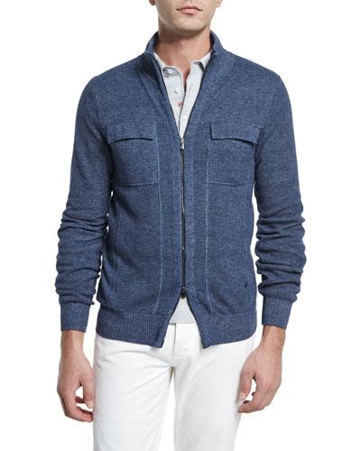 Melange Cashmere Full-Zip Jacket, Blue