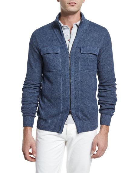 Isaia Melange Cashmere Full-Zip Jacket, Blue