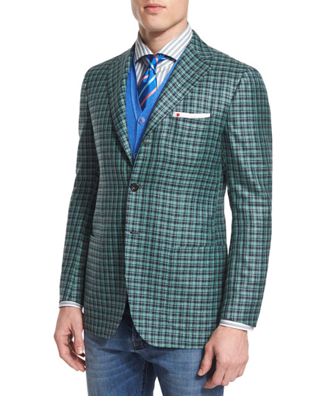 Kiton Silk/Cashmere Check Two-Button Jacket w/ Patch Pockets,