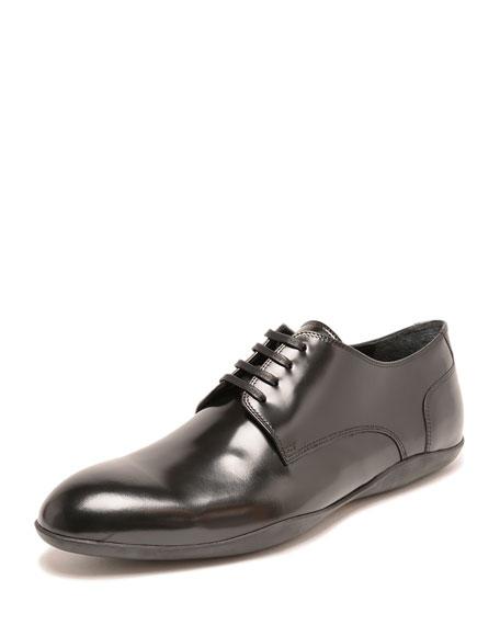 Harrys of London Duncan Leather Lace-Up Loafer, Black/Blue