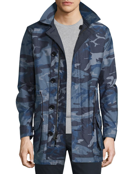 Burberry Brit Camo-Print Nylon Single-Layer Jacket, Navy