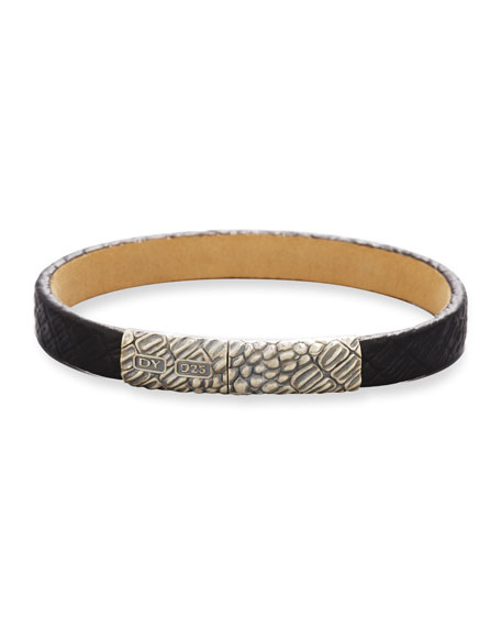 Men's Alligator-Embossed Leather & Sterling Silver Bracelet, Black