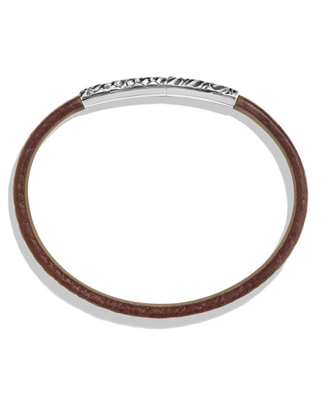 Men's Alligator-Embossed Leather & Sterling Silver Bracelet, Brown