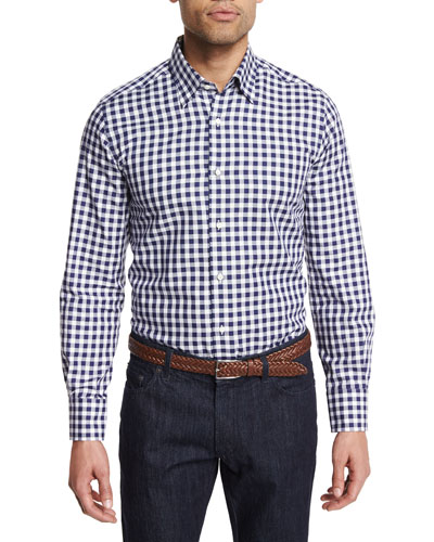 Buffalo Check Long-Sleeve Sport Shirt, Navy/White