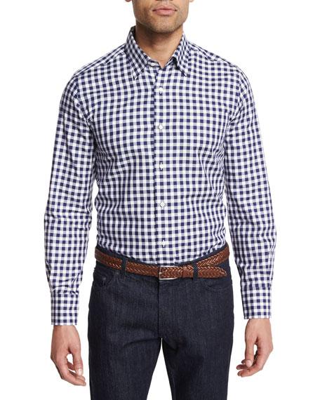 Neiman Marcus Buffalo Check Long-Sleeve Sport Shirt, Navy/White