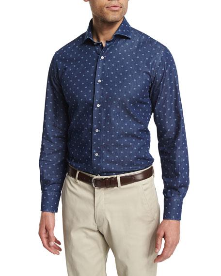 Neiman Marcus Mini Skull-Print Long-Sleeve Sport Shirt, Blue