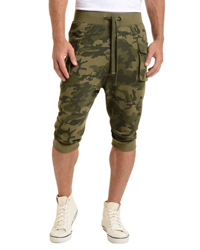 Camo-Print Cargo Cropped Pants, Olive