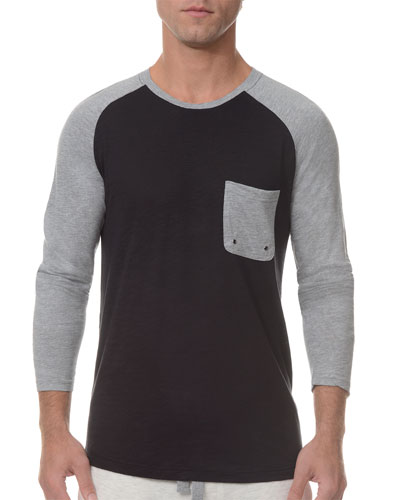 Baseball Raglan-Sleeve Crewneck Shirt, Black