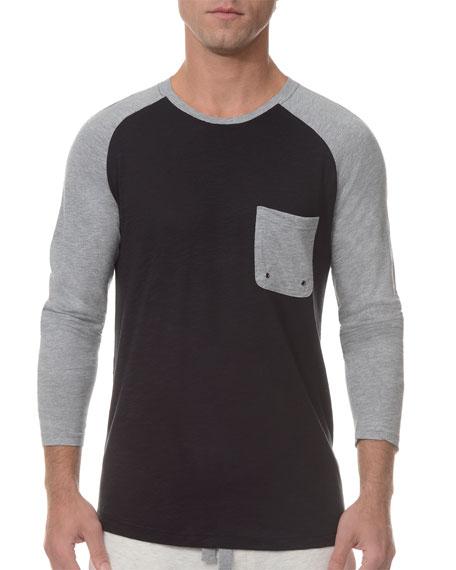 2xist Baseball Raglan-Sleeve Crewneck Shirt, Black