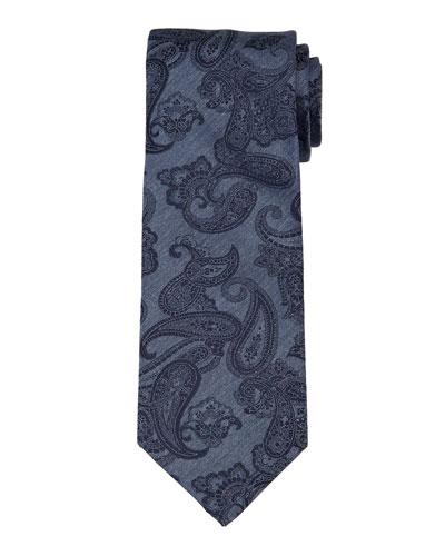 Paisley-Print Chambray Silk Tie, Blue