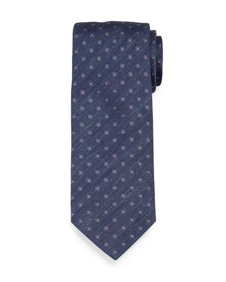Brioni Chambray Flower-Print Neat Silk Tie