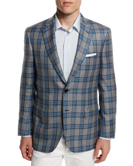 Brioni Plaid Two-Button Cashmere-Blend Jacket, Gray/Light Blue