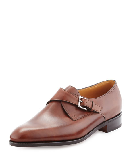 Ashill Single-Monk Leather Shoe, Brown
