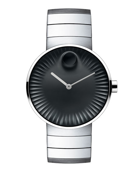 Movado 40mm Edge Watch with Link Bracelet, Silver