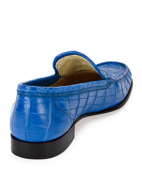 Classic Crocodile Leather Loafer, Blue