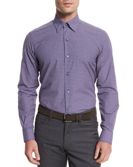 Ermenegildo Zegna Gingham Jacquard Long-Sleeve Sport Shirt, Navy