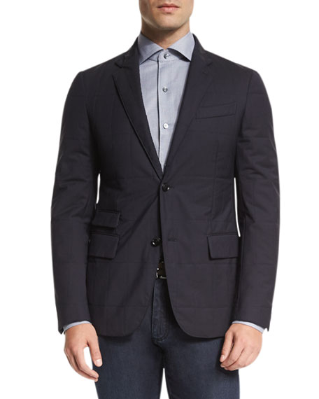 Ermenegildo Zegna Trofeo?? Wool Elements Quilted Blazer, Navy