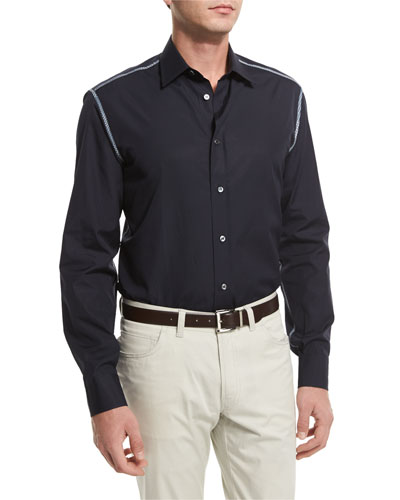 Solid Long-Sleeve Sport Shirt with Contrast Trim, Navy