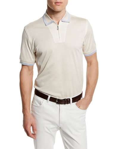 Tape-Tipped Zip Polo Shirt, Ivory