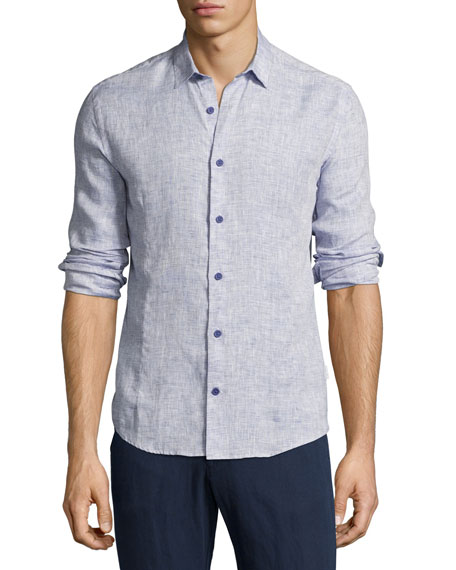 Morton Tailored Long-Sleeve Shirt, Navy