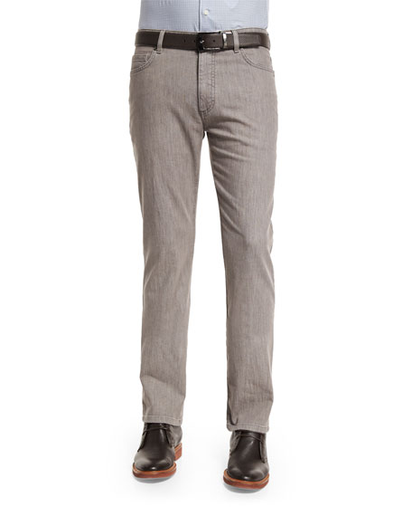 Ermenegildo Zegna Five-Pocket Stretch-Cotton Denim Jeans, Khaki