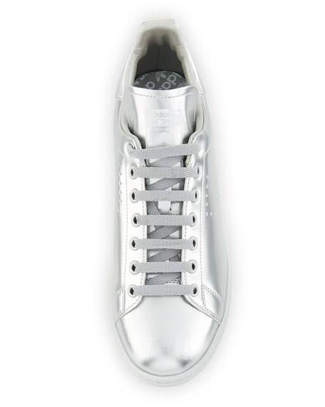 Stan Smith Silvertone Metallic Perforated Leather Sneaker