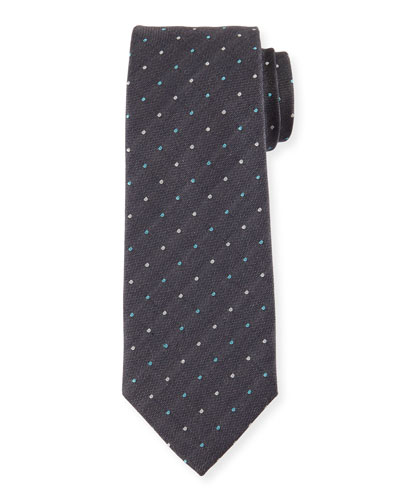 Multicolored Dot-Print Silk Tie