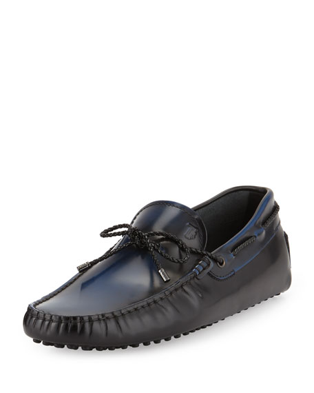 Tod's Gommini Scooby-Tie Leather Driver, Black/Blue