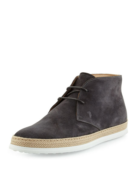 Tod's Suede Lace-Up Espadrille Boot, Dark Gray