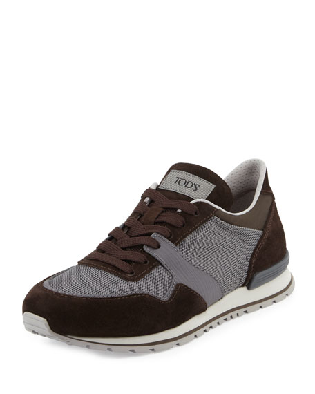 Tod's Lace-Up Trainer Sneaker, Brown/Gray
