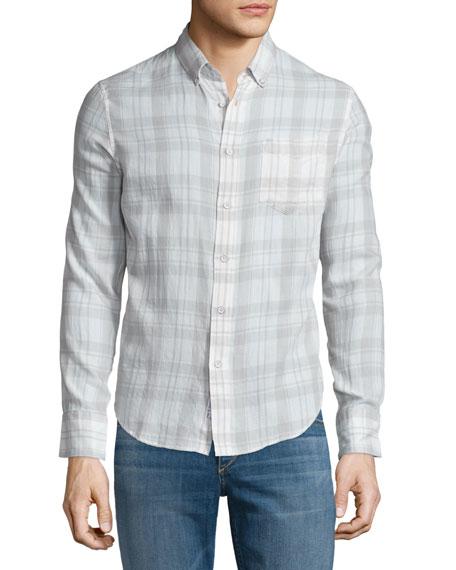 Rag & BoneYokohama Plaid Long-Sleeve Sport Shirt, White/Gray
