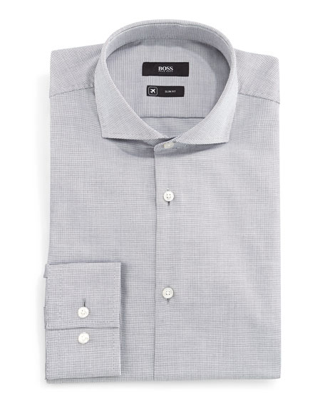Boss Hugo Boss Jason Micro-Check Slim-Fit Dress Shirt,