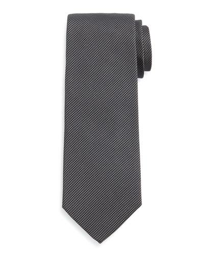Textured Solid Silk Tie, Black