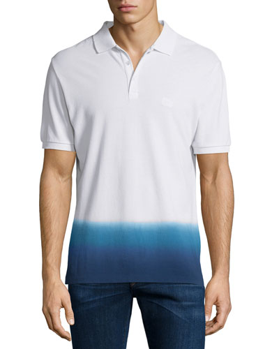 Dip-Dyed Short-Sleeve Polo Shirt, White