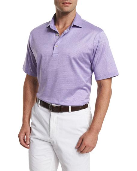 Peter Millar Von Jacquard-Stripe Short-Sleeve Polo Shirt, Purple