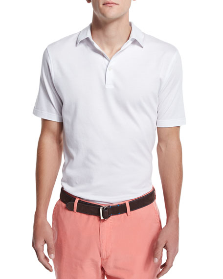 Peter Millar Perfect Short-Sleeve Pique Polo Shirt, White