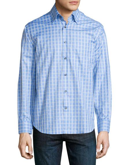 Robert Talbott Grid-Print Woven Dress Shirt, Sky