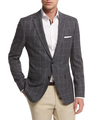 Jeen Melange Windowpane Two-Button Jacket, Gray