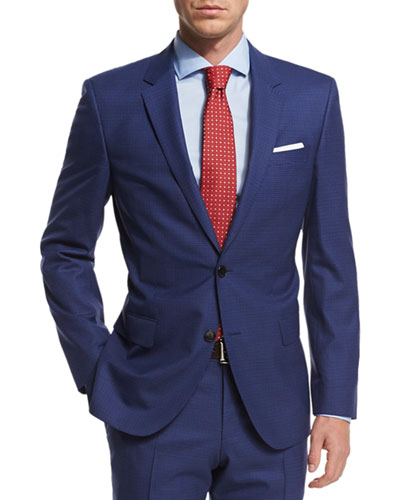 Micro-Check Two-Piece Wool Suit, Blue
