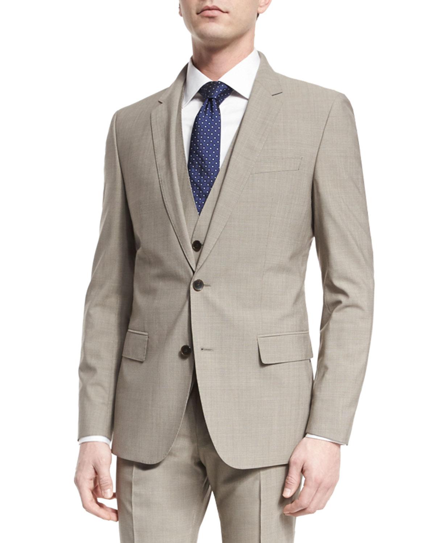 67c43663a BOSS Huge Genius Slim Houndstooth Three-Piece Wool Suit, Tan ...