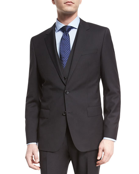 BOSS Huge Genius Slim Tonal-Stripe Three-Piece Wool Suit,